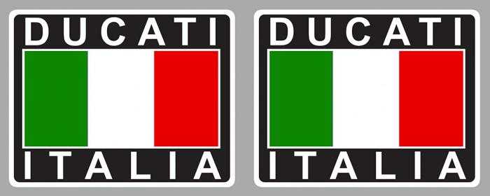 Sticker 2 X DUCATI : Couleur Course