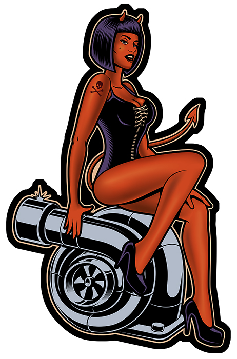 Sticker PINUP DIABLESSE TURBO : Couleur Course