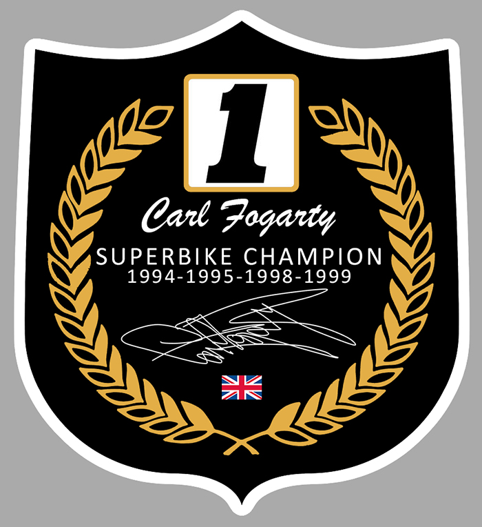 Sticker CARL FOGARTY SUPERBIKE CHAMPION : Couleur Course