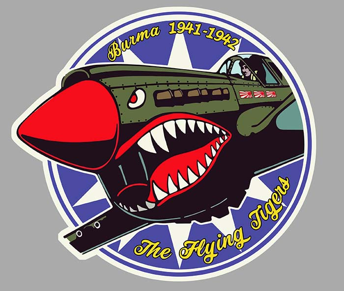 Sticker P40 CURTISS FLYING TIGERS : Couleur Course