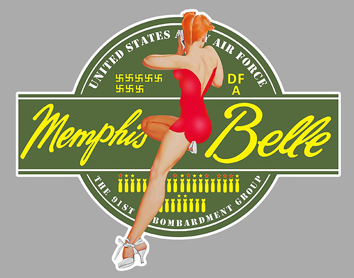 Sticker B17 FLYING FORTRESS MEMPHIS BELLE : Couleur Course