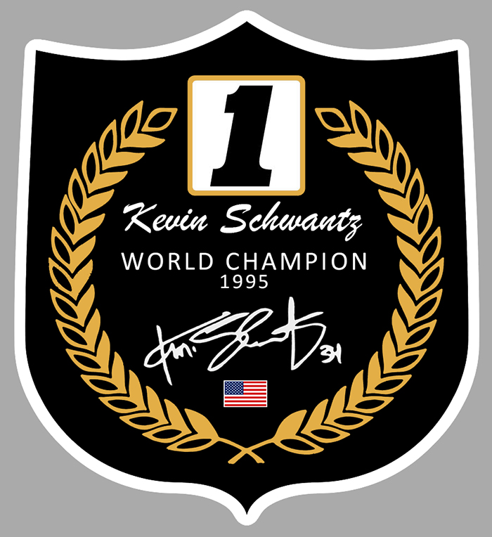 Sticker SCHWANTZ #34 WORLD CHAMPION : Couleur Course